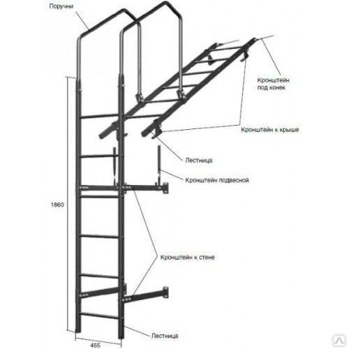 Лестница кровельная, стеновая (дл. 1860 мм) без кронштейнов, цена в Новосибирске от компании Атлант